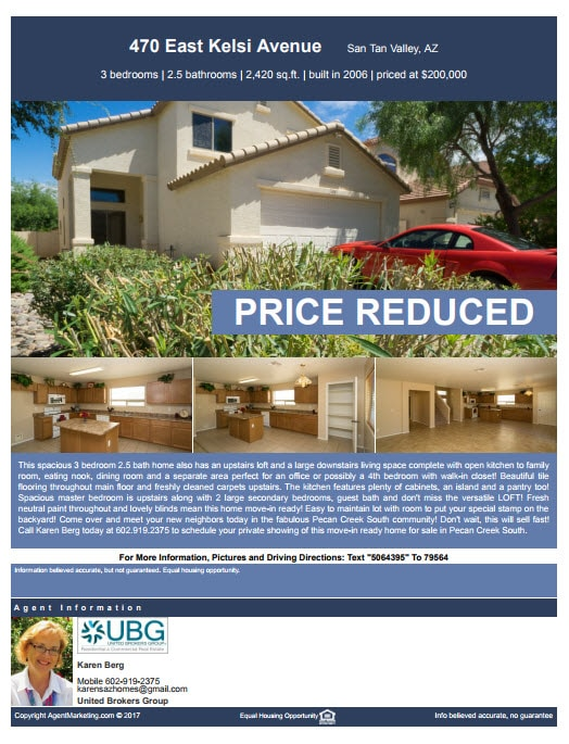 Listing Flyer Price Reduced
